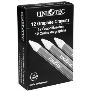 Finetec Graphite Crayon 6B: Black/Gray, 6B, Drawing Lead, (model ML426), price per dozen (12-pack)