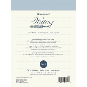 "Strathmore® Writing Series 6"" x 8"" Lined Stationery Pad: Glue Bound, 50 Sheets, 24 lb, (model ST572-61), price per 50 Sheets pad"