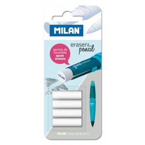Milan® Mechanical Pencil Eraser Refills (2B): Rubber, 4-Pack, Eraser Refill
