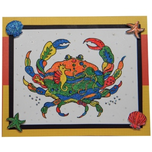 Sarasota Stamps Mounted Rubber Stamp Deco Crab