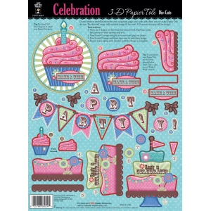 "Hot Off the Press 3-D Papier Tole Die Cuts Celebration: Multi, 8 1/2"" x 11"", Dimensional"