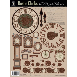 "Hot Off the Press 3-D Papier Tole Die Cuts Rustic Clocks: Multi, 8 1/2"" x 11"", Dimensional, (model HOTP8001), price per each"
