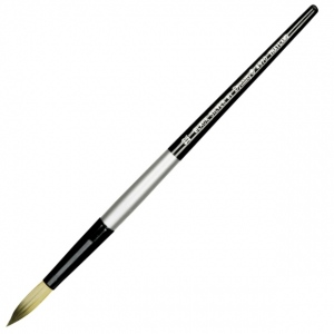 Dynasty® Black Silver® Blended Synthetic Watercolor Brush Round 12: Short Handle, Bristle, Round, Watercolor, (model FM32828), price per each