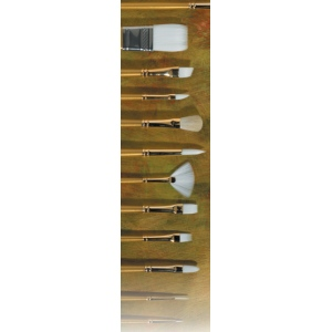 Prima White Gold Taklon: Flat Brush, Long Handle