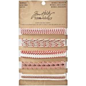 Advantus Tim Holtz Ideaology Trimmings: Naturals, Red/Cream