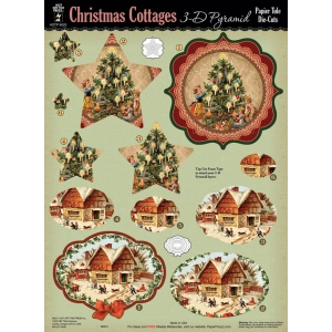 "Hot Off the Press 3-D Papier Tole Die Cuts Christmas Cottages: Multi, 8 1/2"" x 11"", Dimensional"
