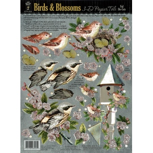 "Hot Off the Press 3-D Papier Tole Die Cuts Birds and Blossoms: Multi, 8 1/2"" x 11"", Dimensional, (model HOTP8005), price per each"