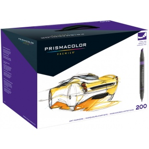 Prismacolor® Premier Chisel Marker Set 200CT: Multi, Double-Ended, Alcohol-Based, Dye-Based, Extra Broad Nib, Fine Nib, (model SN1850851), price per set