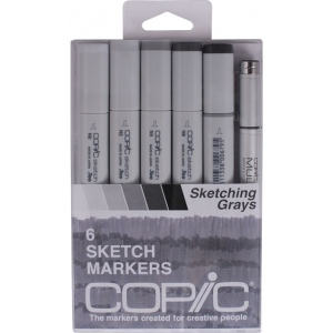Copic® Gray 5-Color Marker Set: Black/Gray, Double-Ended, Alcohol-Based, Refillable, Broad Nib, Brush Nib, (model SNGRAY), price per set
