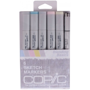 Copic® Blending Basics Marker Set: Blue, Double-Ended, Alcohol-Based, Refillable, Broad Nib, Fine Nib, (model SBLENDING), price per set