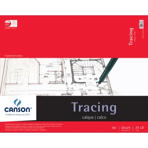 "Canson® Foundation Series 19"" x 24"" Tracing Paper Pad: Fold Over, White/Ivory, Pad, 50 Sheets, 19"" x 24"", Smooth, (model C100510963), price per 50 Sheets pad"