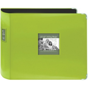 "Pioneer® 12"" x 12"" XL D-Ring Leatherette Scrapbook Binder Lime Green: Green, Leatherette, 12"" x 12"", (model T12JF/CGN), price per each"