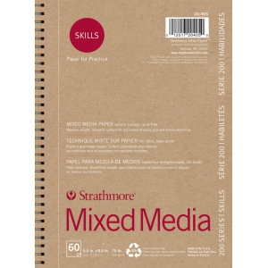 "Strathmore® 200 Series Skills 5 1/2"" x 8 1/2"" Wire Bound Mixed Media Pad: White/Ivory, Pad, 60 Sheets, 5 1/2"" x 8 1/2"", Mixed Media, (model ST20-405), price per 60 Sheets pad"