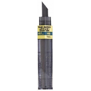 Pentel® Super Hi-Polymer® Super Lead .7mm H: H, Black/Gray, .7mm, 12-Pack, Lead, (model 50-7-H/BX), price per 12-Pack box