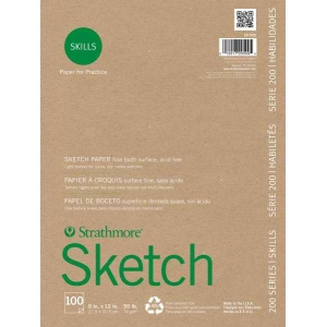"Strathmore® 200 Series Skills 9"" x 12"" Glue Bound Sketch Pad: White/Ivory, Pad, 100 Sheets, 9"" x 12"", Sketching, (model ST20-509), price per 100 Sheets pad"