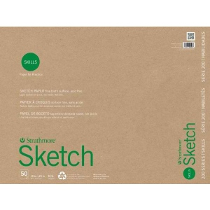 "Strathmore® 200 Series Skills 18"" x 24"" Glue Bound Sketch Pad: White/Ivory, Pad, 50 Sheets, 18"" x 24"", Sketching, (model ST20-528), price per 50 Sheets pad"