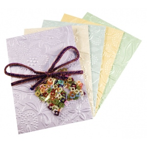 "Blue Hills Studio™ Treasure Chest™ Card Kit Victorian Floral Embossed with Sequins: Multi, Envelope Included, Card, 4 1/8"" x 5 5/8"", (model BHS315), price per kit"