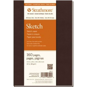 "Strathmore® 400 Series Soft Cover Sketch Journal 5.5"" x 8"": Sewn Bound, White/Ivory, Journal, 160 Pages, 5 1/2"" x 8"", Medium, Sketching, 60 lb, (model ST480-5), price per each"