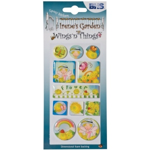 "Blue Hills Studio™ Irene's Garden™ Wings'n'Things Epoxy Stickers Flower: Multi, 2 1/2"" x 5"", Dimensional, (model BHS003), price per each"