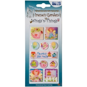 "Blue Hills Studio™ Irene's Garden™ Wings'n'Things Epoxy Stickers Thanks: Multi, 2 1/2"" x 5"", Dimensional, (model BHS004), price per each"