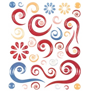 "Blue Hills Studio™ ColorStories™ Epoxy Swirl Stickers Red: Red/Pink, Epoxy, 4 3/4"" x 5 3/4"", Dimensional, (model BHS10107), price per each"