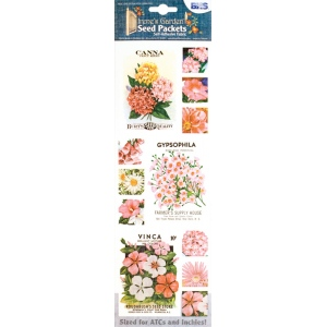 "Blue Hills Studio™ Irene's Garden™ Seed Packet Fabric Stickers Pink: Red/Pink, 9"", Flat, (model BHS016), price per each"
