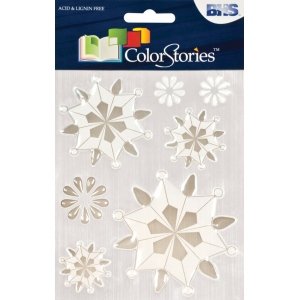 "Blue Hills Studio™ ColorStories™ Epoxy Snowflower Stickers White: White/Ivory, Epoxy, 4 3/4"" x 5 3/4"", Dimensional, (model BHS10707), price per each"