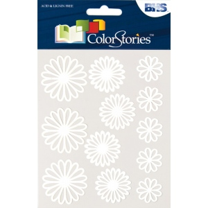 "Blue Hills Studio™ ColorStories™ Gel Outline Daisy Stickers White: White/Ivory, Gel, 4 3/4"" x 5 3/4"", Dimensional, (model BHS10708), price per each"