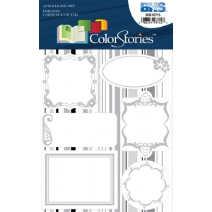 "Blue Hills Studio™ ColorStories™ Embossed Cardstock Stickers White: White/Ivory, Cardstock, 4 3/4"" x 5 3/4"", Flat, (model BHS10715), price per each"