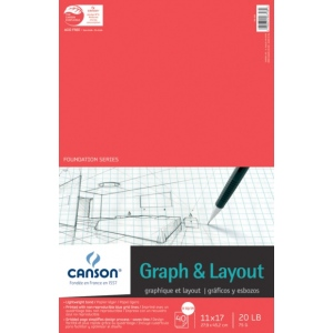 "Canson® Foundation Series 11"" x 17"" Graph and Layout Sheet Pad: Fold Over, White/Ivory, Pad, 40 Sheets, 11"" x 17"", Lightweight, (model C100510885), price per 40 Sheets pad"