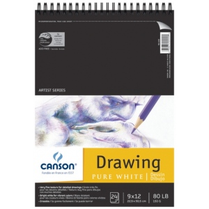 "Canson® Artist Series 9"" x 12"" Drawing Sheet Pad: Wire Bound, White/Ivory, Pad, 24 Sheets, 9"" x 12"", Fine, (model C100510890), price per 24 Sheets pad"