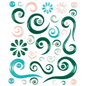 "Blue Hills Studio™ ColorStories™ Epoxy Swirl Stickers Green: Green, Epoxy, 4 3/4"" x 5 3/4"", Dimensional, (model BHS10307), price per each"