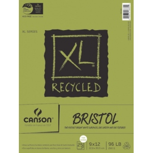 "Canson® XL® 9"" x 12"" Recycled Bristol Pad (Fold Over): Fold Over, White/Ivory, Pad, 25 Sheets, 9"" x 12"", Smooth, Vellum, (model C100510932), price per 25 Sheets pad"
