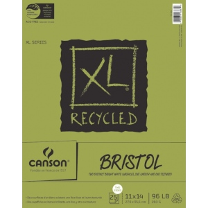"Canson® XL® 11"" x 14"" Recycled Bristol Pad (Fold Over): Fold Over, White/Ivory, Pad, 25 Sheets, 11"" x 14"", Smooth, Vellum, (model C100510933), price per 25 Sheets pad"