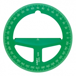 "Linex® 4"" Translucent Green Circular Protractor: Green, Plastic, 4"", Protractor, (model G210GRN), price per each"