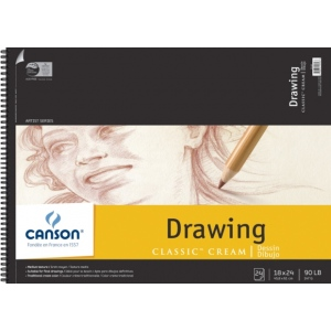 "Canson® Classic™ Artist Series 18"" x 24"" Drawing Pad (Top Wire): Wire Bound, White/Ivory, Pad, 24 Sheets, 18"" x 24"", Medium, (model C100510976), price per 24 Sheets pad"