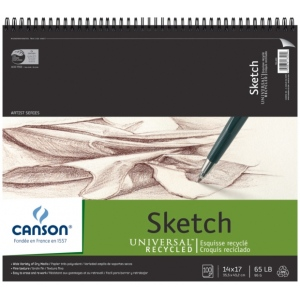 "Canson® Universal™ Artist Series 14"" x 17"" Recycled Sketch Sheet Pad: Wire Bound, White/Ivory, Pad, 100 Sheets, 14"" x 17"", Fine, (model C100511011), price per 100 Sheets pad"