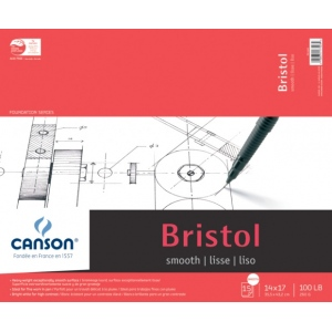 "Canson® Foundation Series 14"" x 17"" Foundation Bristol Sheet Pad: Fold Over, White/Ivory, Pad, 15 Sheets, 14"" x 17"", Smooth, (model C100511015), price per 15 Sheets pad"
