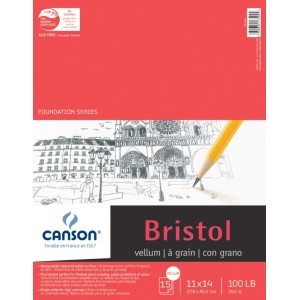 "Canson® Foundation Series 11"" x 14"" Foundation Bristol Sheet Pad: Fold Over, White/Ivory, Pad, 15 Sheets, 11"" x 14"", Vellum, (model C100511018), price per 15 Sheets pad"