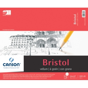 "Canson® Foundation Series Vellum Bristol 14"" x 17"": Fold Over, Pad, 15 Sheets, 14"" x 17"", Bristol, 100 lb, (model C100511019), price per 15 Sheets pad"