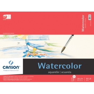 "Canson® Foundation Series 18"" x 24"" Watercolor Cold Press 15-Sheet Pad: Fold Over, White/Ivory, Pad, 15 Sheets, 18"" x 24"", Cold Press, (model C100511026), price per 15 Sheets pad"