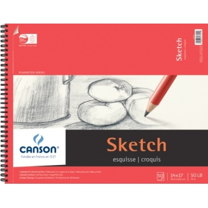 "Canson® Foundation Series 14"" x 17"" Wire Bound Sketch Pad: Wire Bound, White/Ivory, Pad, 50 Sheets, 14"" x 17"", Smooth, (model C100511032), price per 50 Sheets pad"