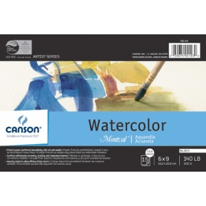 "Canson® Montval® Artist Series 6"" x 9"" Watercolor Cold Press Block Pad 140lb/300g: Fold Over, White/Ivory, Block, 15 Sheets, 6"" x 9"", Cold Press, (model C100511062), price per each"