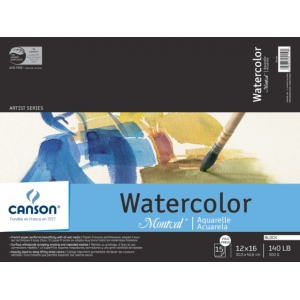 "Canson® Montval® Artist Series 12"" x 16"" Watercolor Cold Press Block Pad 140lb/300g: Fold Over, White/Ivory, Block, 15 Sheets, 12"" x 16"", Cold Press, (model C100511065), price per each"