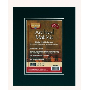 "Heritage Arts™ Archival Series 8"" x 10"" Pre-Cut Double Layer Black Mat Kit: Black/Gray, Frame, Pre-Cut Mat Board, 8"" x 10"", 1/8"", Presentation Board"