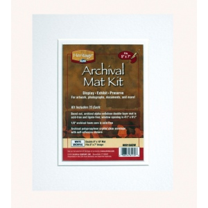 "Heritage Arts™ Archival Series 8"" x 10"" Pre-Cut Double Layer White Mat Kit: White/Ivory, Frame, Pre-Cut Mat Board, 8"" x 10"", 1/8"", Presentation Board, (model H0810ADW), price per each"