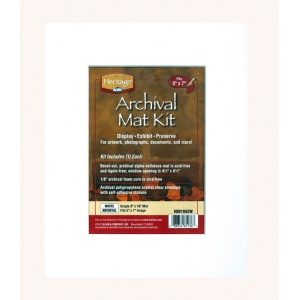 "Heritage Arts™ Archival Series 8"" x 10"" Pre-Cut Single Layer White Mat Kit: White/Ivory, Frame, Pre-Cut Mat Board, 8"" x 10"", 1/16"", Presentation Board, (model H0810ASW), price per each"