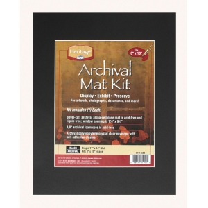 "Heritage Arts™ Archival Series 11"" x 14"" Pre-Cut Single Layer Black Mat Kit: Black/Gray, Frame, Pre-Cut Mat Board, 11"" x 14"", 1/16"", Presentation Board"