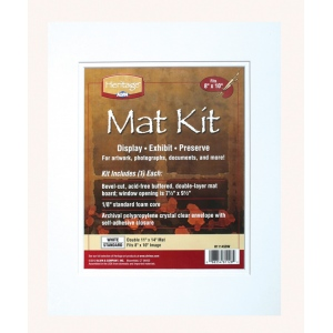 "Heritage Arts™ Standard Series 11"" x 14"" Pre-Cut Double Layer White Mat Kit: White/Ivory, Frame, Pre-Cut Mat Board, 11"" x 14"", 1/8"", Presentation Board, (model H1114SDW), price per each"