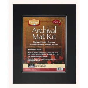 "Heritage Arts™ Archival Series 16"" x 20"" Pre-Cut Double Layer Black Mat Kit: Black/Gray, Frame, Pre-Cut Mat Board, 16"" x 20"", 1/8"", Presentation Board"